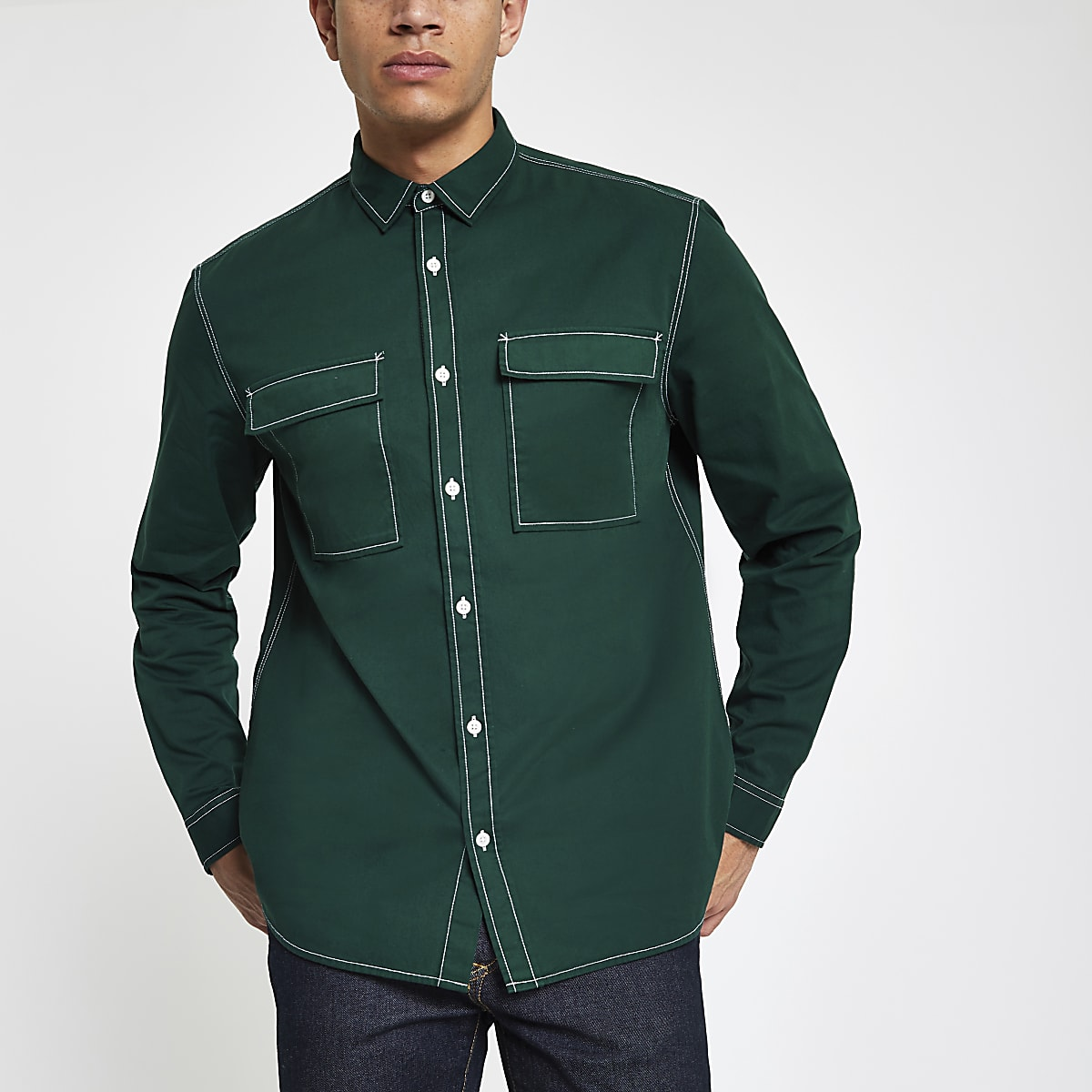 Donkergroen Overhemd.Donkergroen Utility Overhemd Met Lange Mouwen Overhemden Met Lange