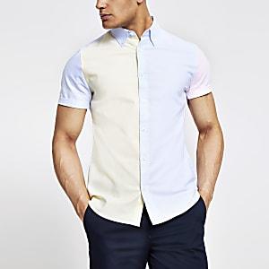 57e2aa2284e Yellow pastel block slim fit shirt