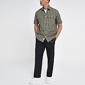 Groen gestreept overhemd met borstzak
