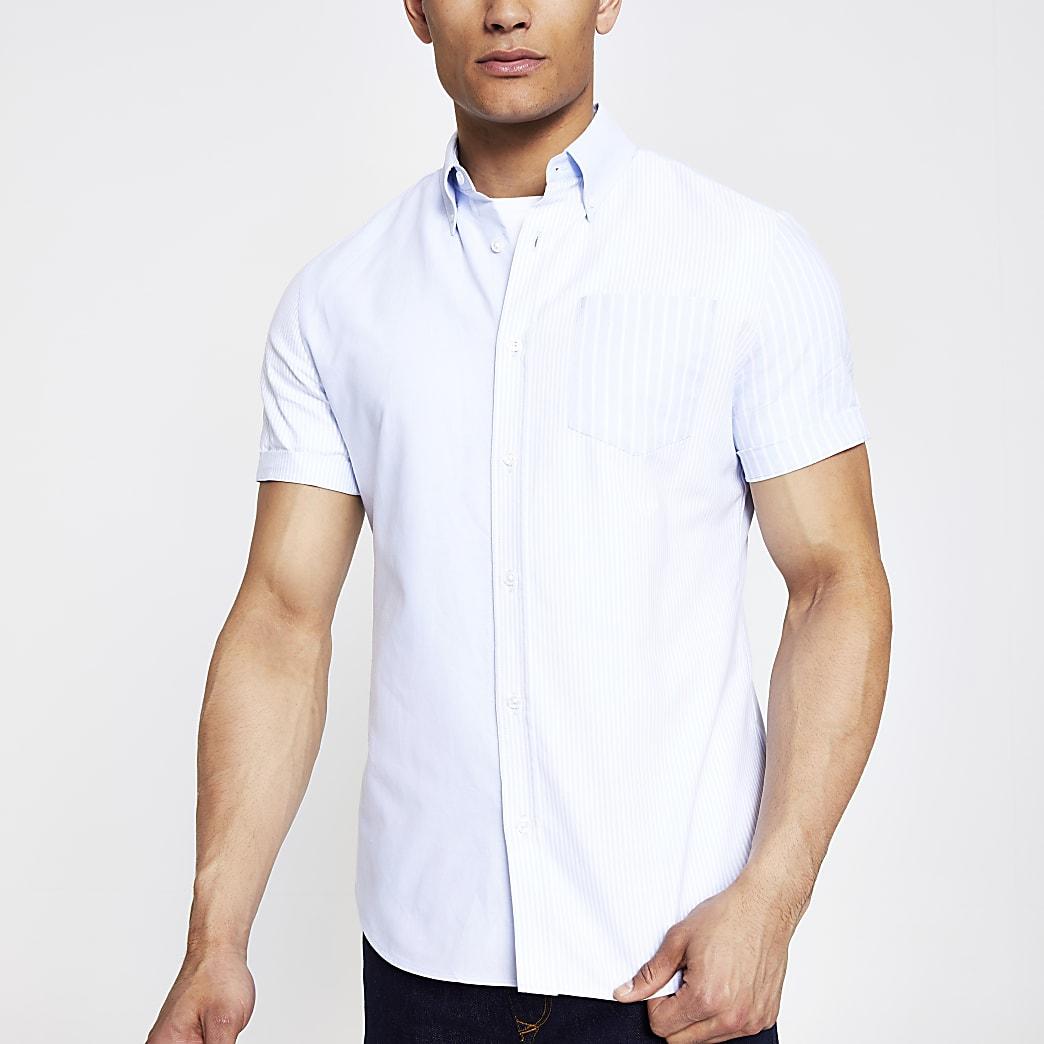 Lichtblauw gestreept overhemd met korte mouwen