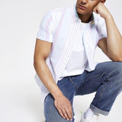 White pastel stripe regular fit shirt