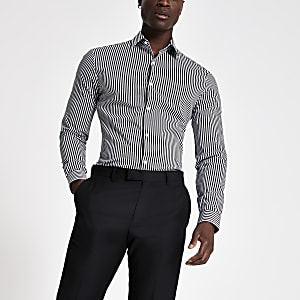 Schwarzes, gestreiftes Muscle Fit Hemd