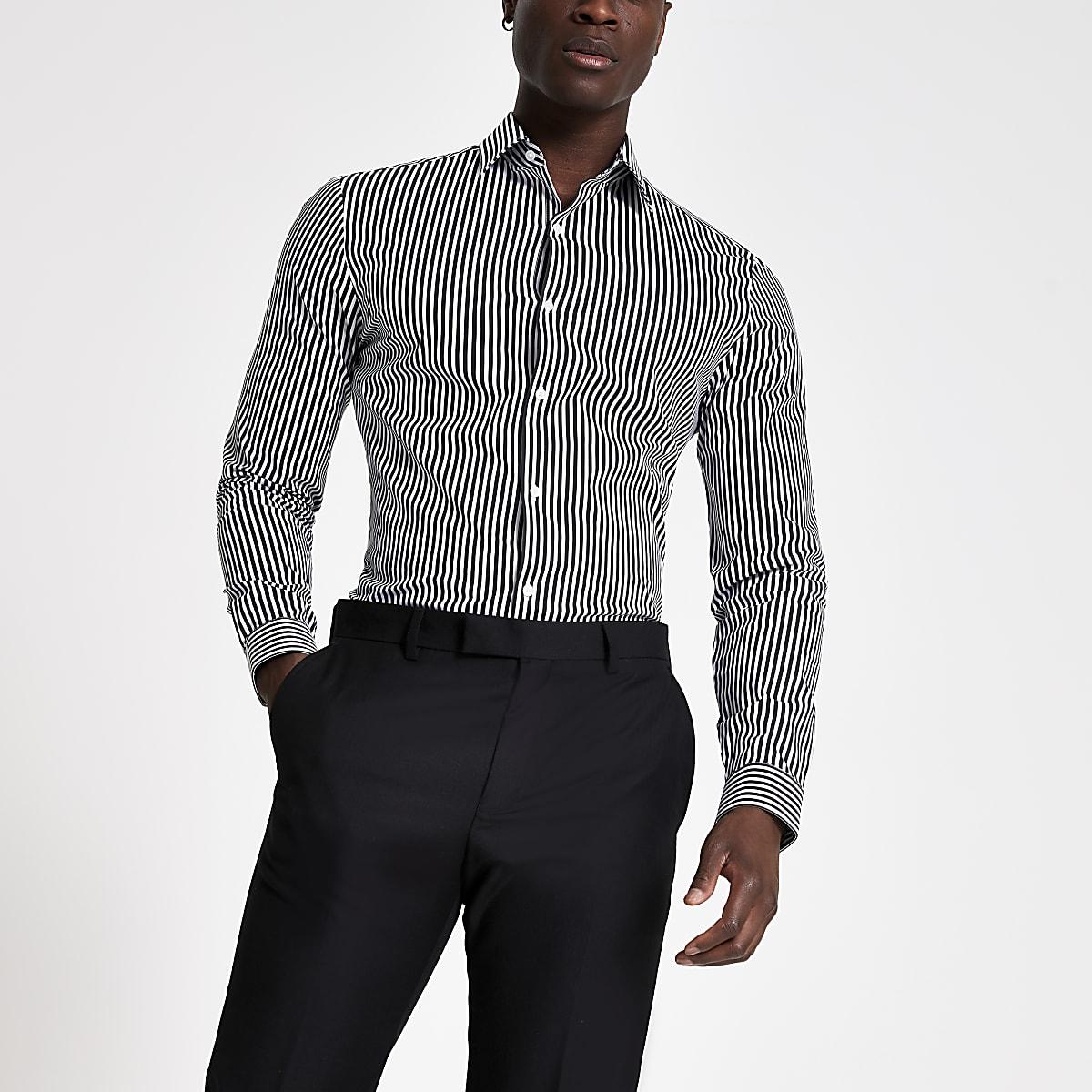 Black muscle fit stripe shirt