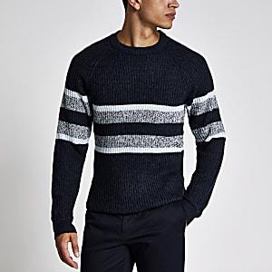 Only & Sons - Marineblauwe gestreepte gebreide pullover