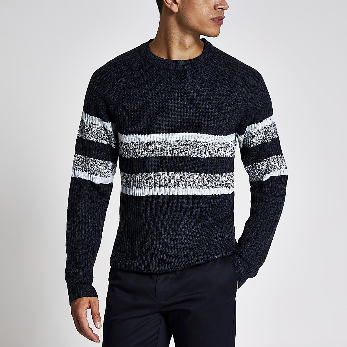 Only & Sons – Pull en maille bleu marineà rayures