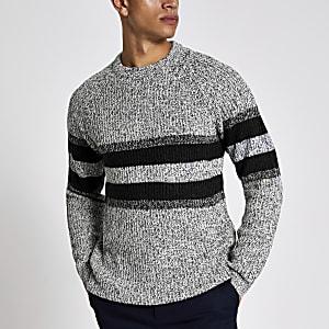 Only & Sons - Grijze gestreepte gebreide pullover