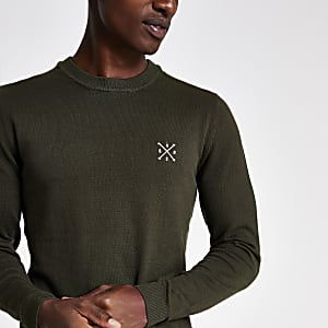 Only & Sons khaki embroidered sweater
