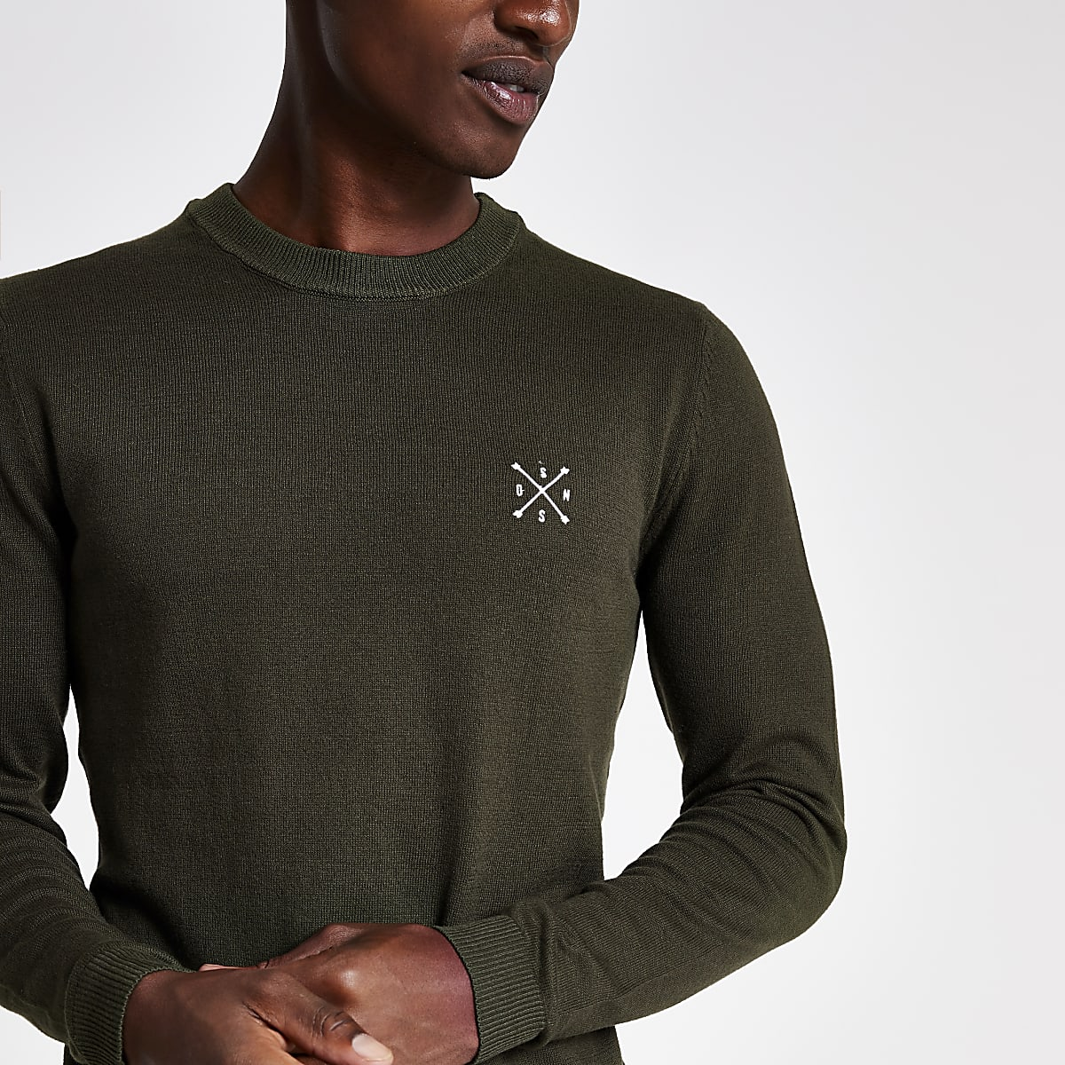 Only & Sons khaki embroidered jumper