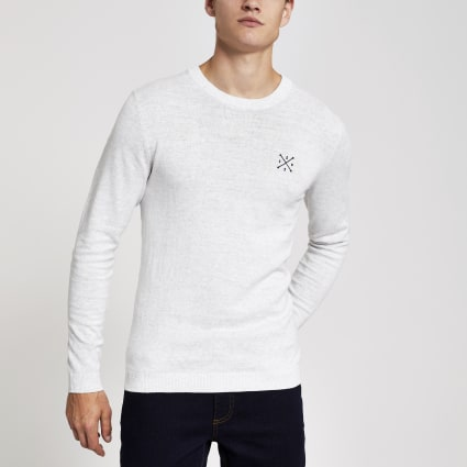 Only & Sons ecru embroidered jumper