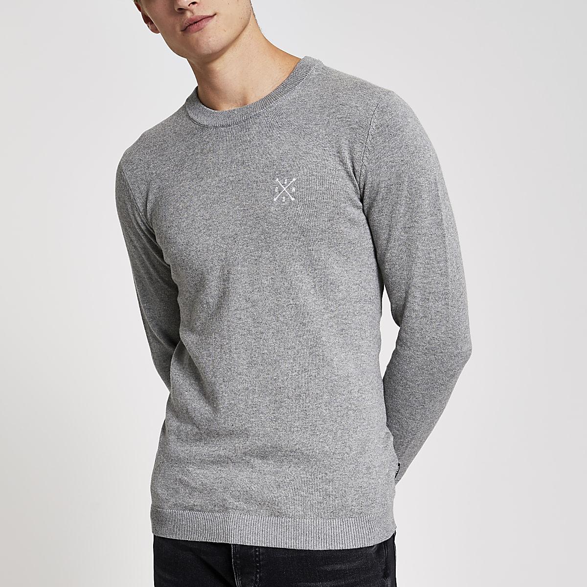 Only & Sons - Lichtgrijze geborduurde pullover