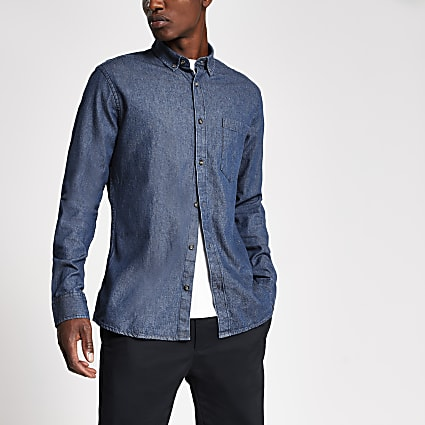 Only & Sons dark blue denim shirt