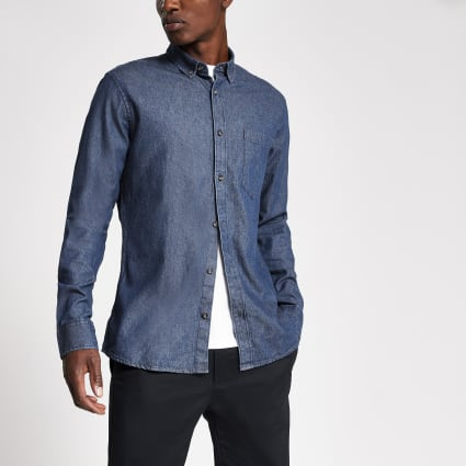 Only & Sons dark blue slim fit denim shirt