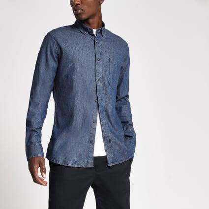 Only & Sons dark blue slim fit denim shirt