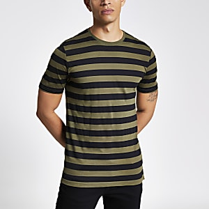 Only & Sons – Gestreiftes T-Shirt in Khaki