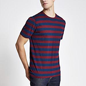 Only & Sons burgundy stripe T-shirt