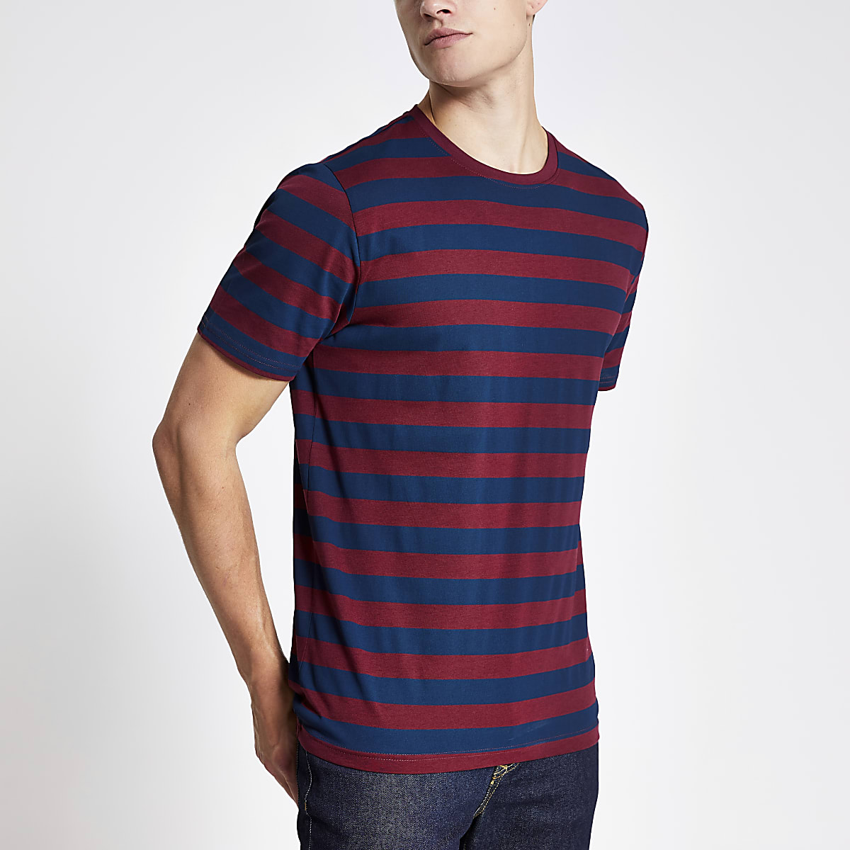 Only & Sons burgundy stripe T-shirt