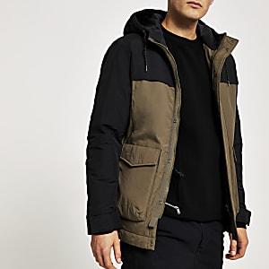 Selected Homme – Gepolsterte Jacke mit grünen Blockfarben