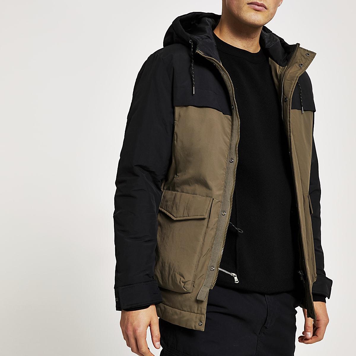 Selected Homme - Groene gewatteerde jas met kleurvlakken