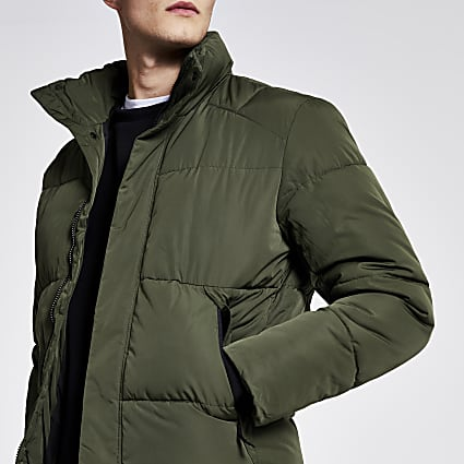 Selected Homme dark green puffer jacket