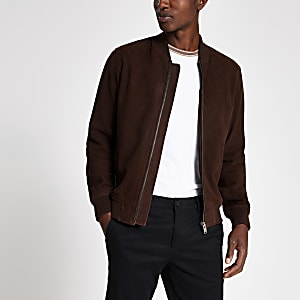 Selected Homme dark brown suede bomber jacket