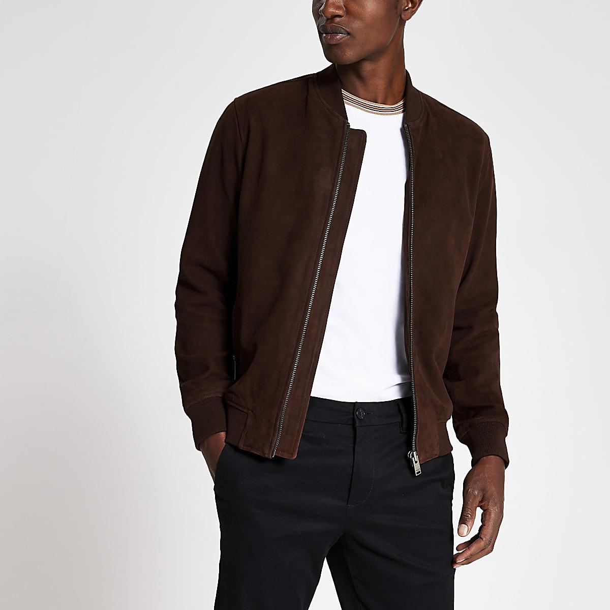 site réputé a43c4 51abd Selected Homme dark brown suede bomber jacket