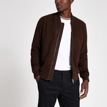 Selected Homme dark brown suede bomber jacket