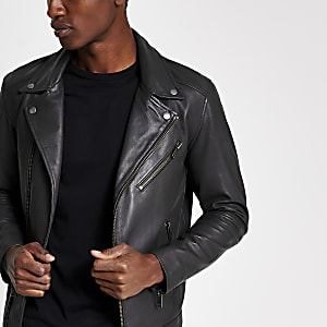 Selected Homme - Perfecto noir en cuir
