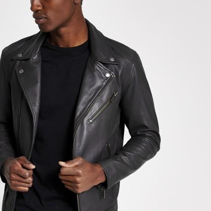 Selected Homme black leather biker jacket