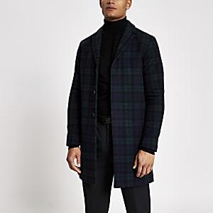 Selected Homme – Manteau en laine bleu marineà carrreaux