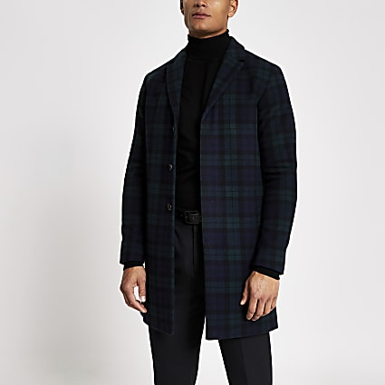 Selected Homme navy check wool coat