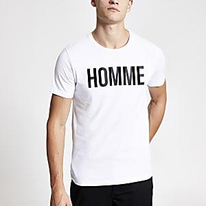 Selected Homme logo print T-shirt