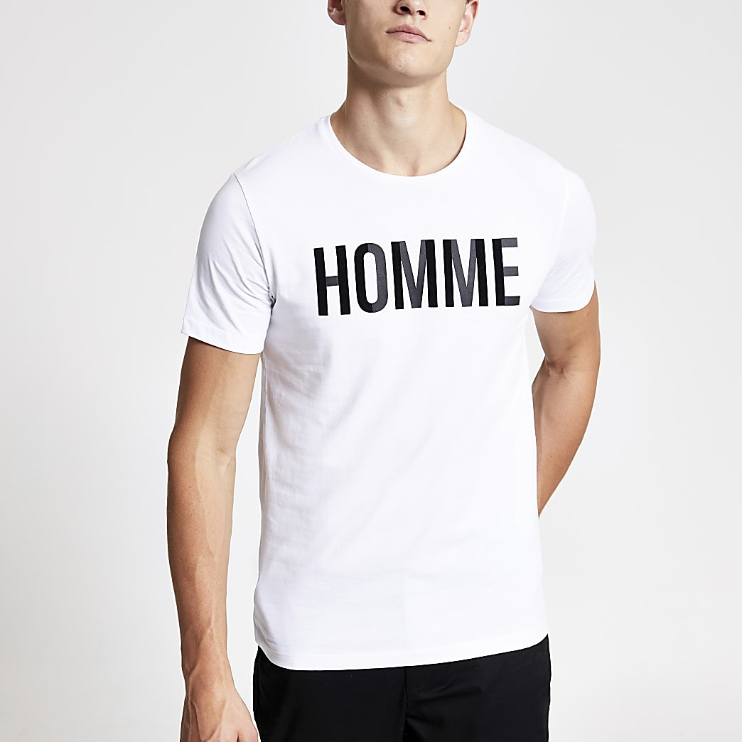 Selected Homme logo print T-shirt