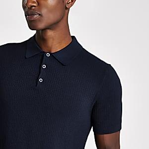 Selected Homme – Marineblaues Poloshirt aus Strick