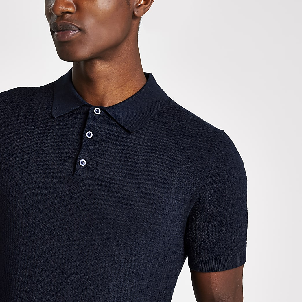 Selected Homme navy knitted polo shirt