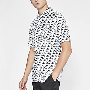 Selected Homme - Wit kort overhemd met geometrische print