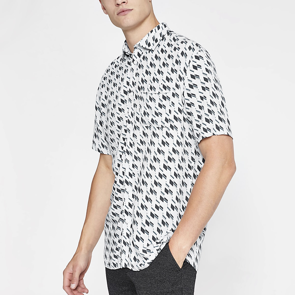 Selected Homme white geo print shirt