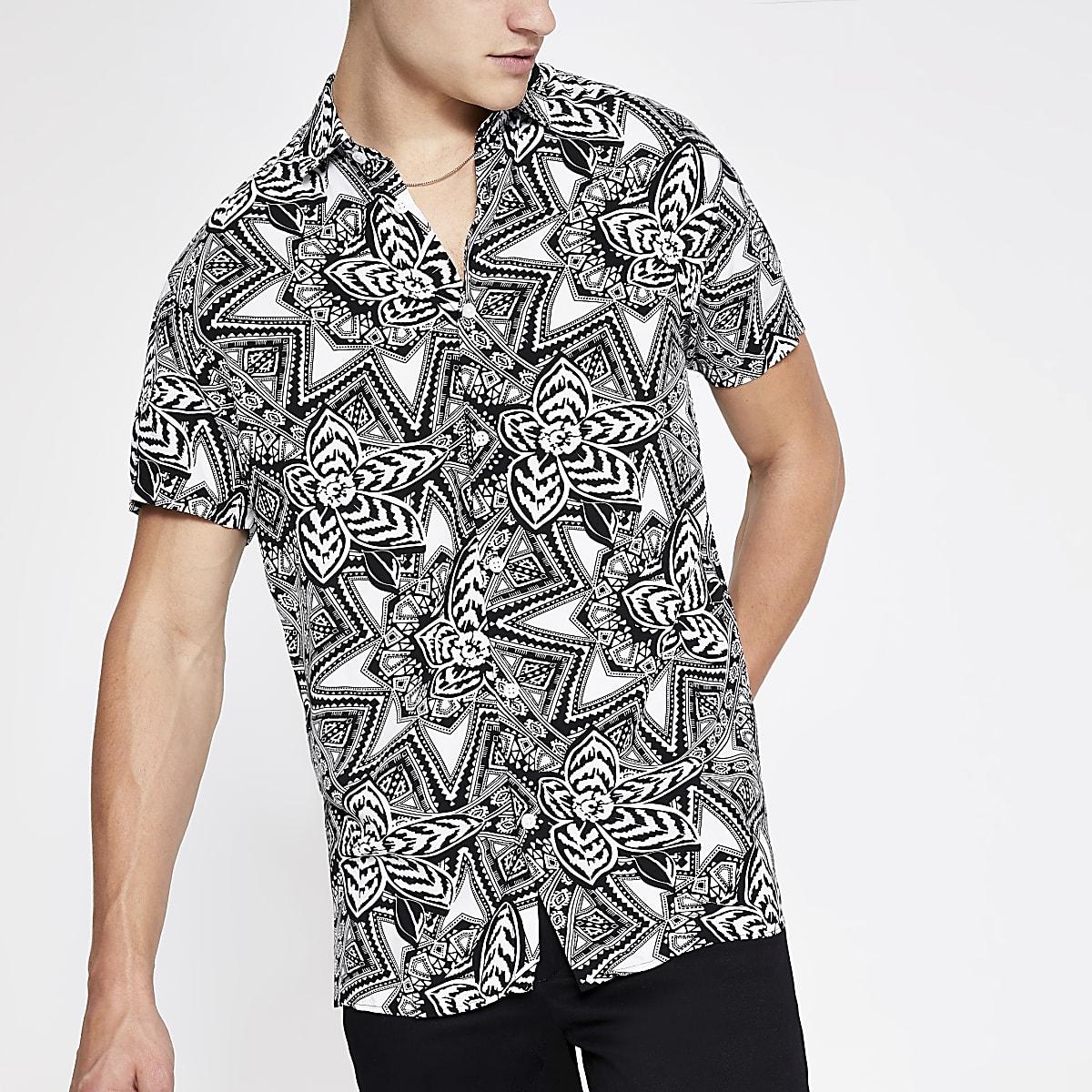Selected Homme - Wit overhemd met print en korte mouwen