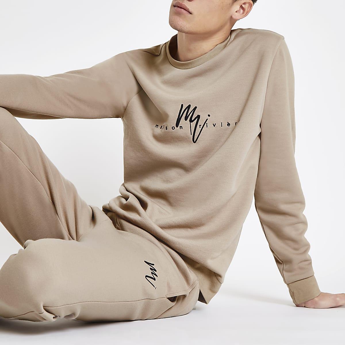 Maison Riviera - Kiezelkleurig slim-fit sweatshirt