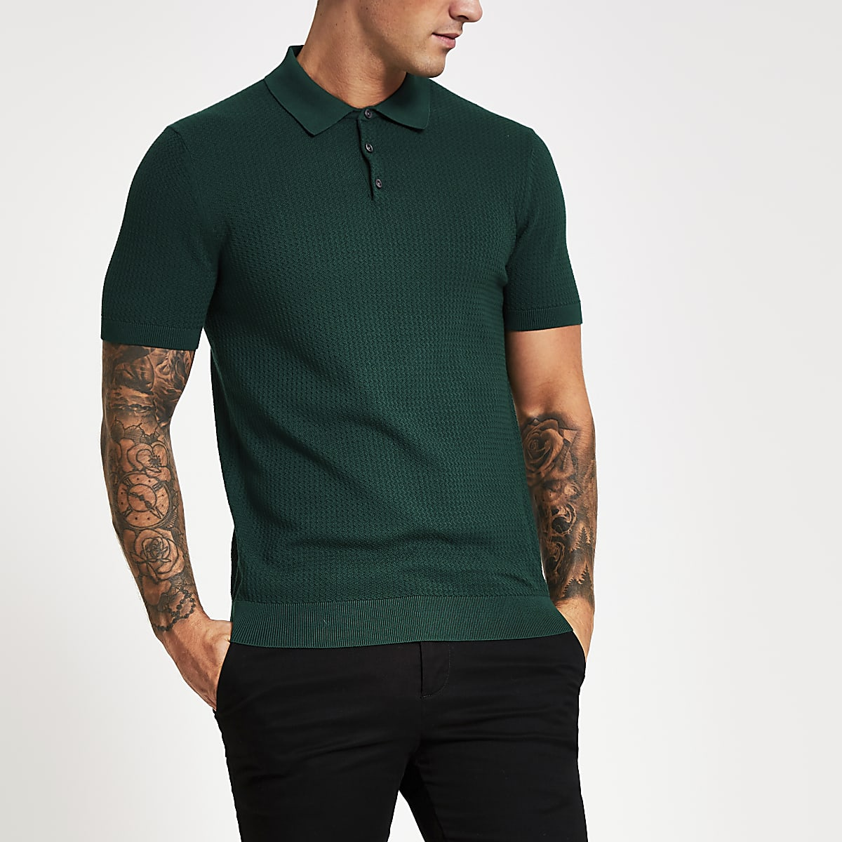 Selected Homme green short sleeve polo shirt