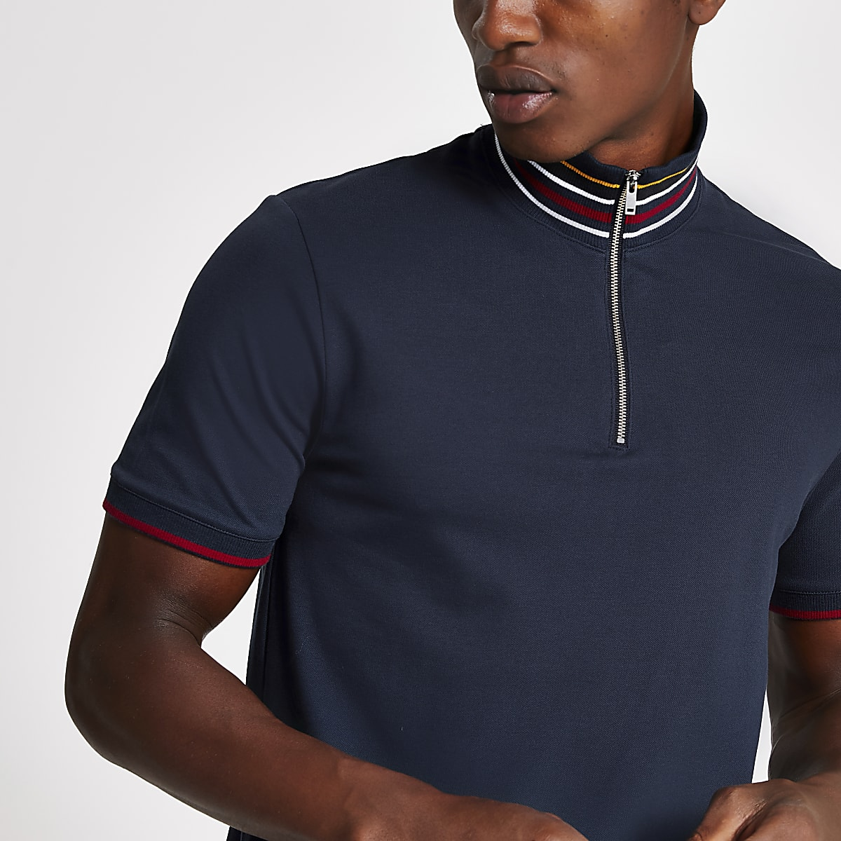 Selected Homme navy zip polo shirt
