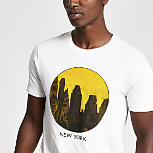 Selected Homme– Weißes T-Shirt mit New-York-Print