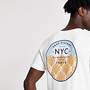 Selected Homme - T-shirt blanc NYC