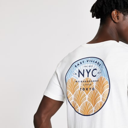 Selected Homme white NYC T-shirt