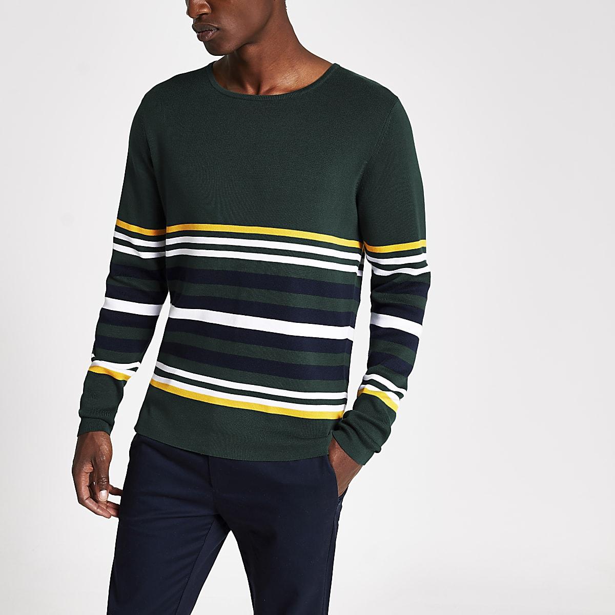 Selected Homme - Donkergroene gestreepte pullover