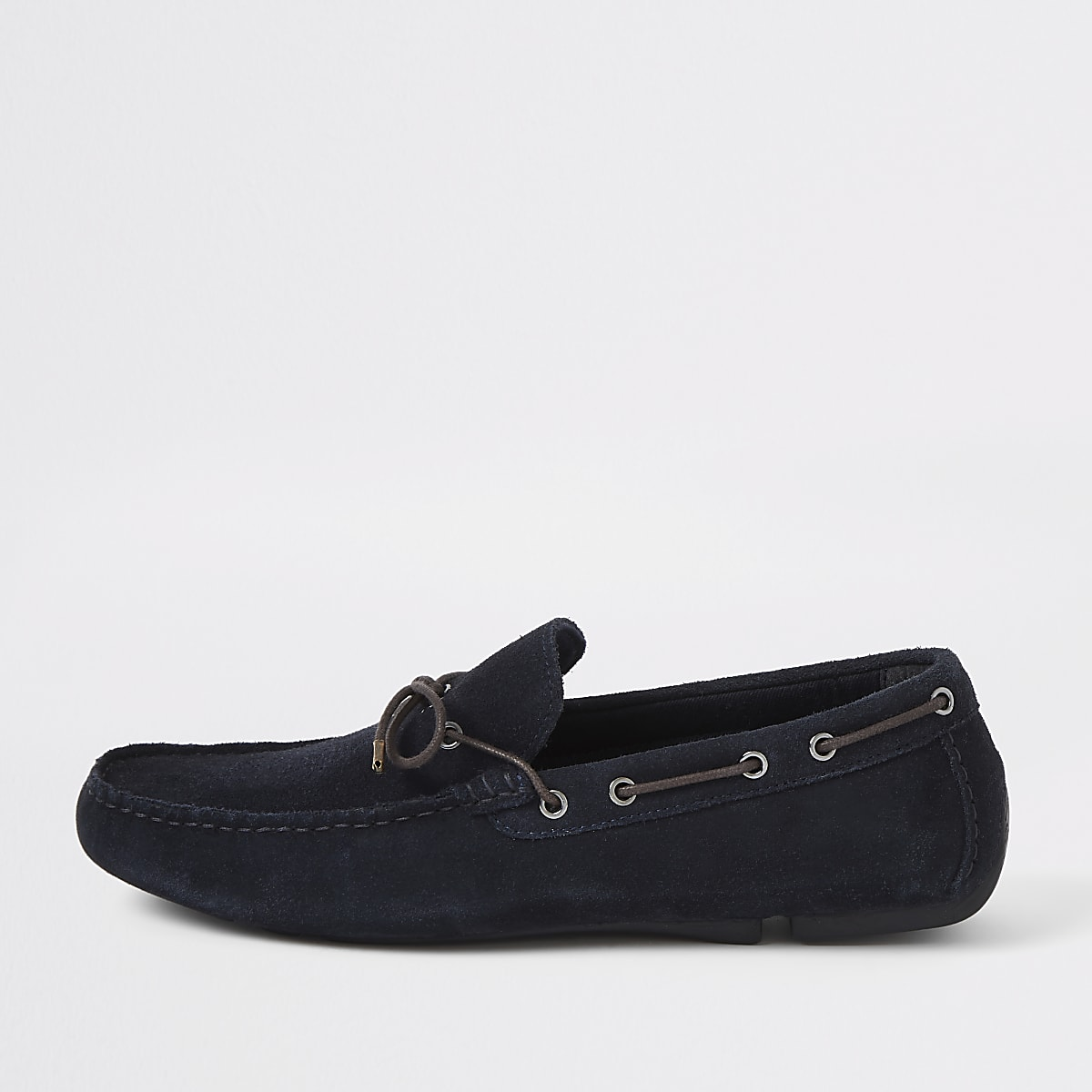 Navy wide fit suede driver shoes