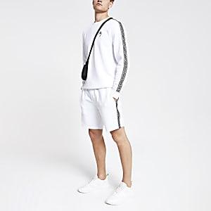 Witte slim-fit jersey short met bies