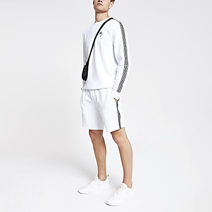 White tape slim fit jersey shorts