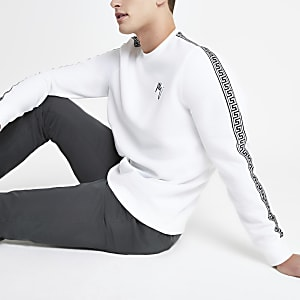 White tape slim fit sweatshirt