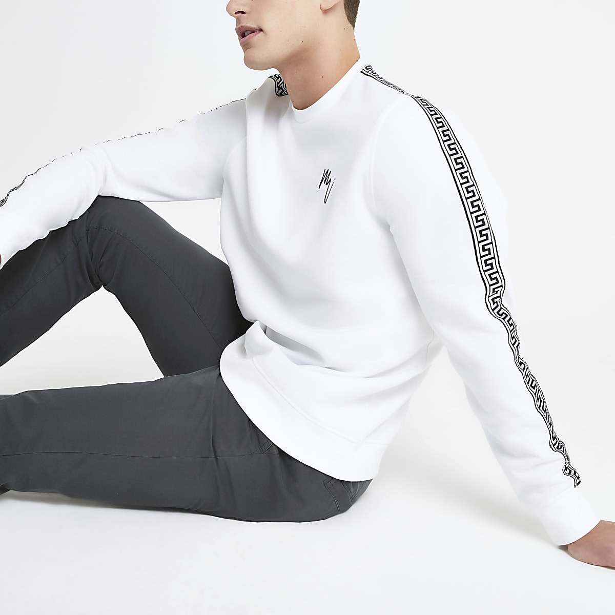 White tape slim fit sweatshirt