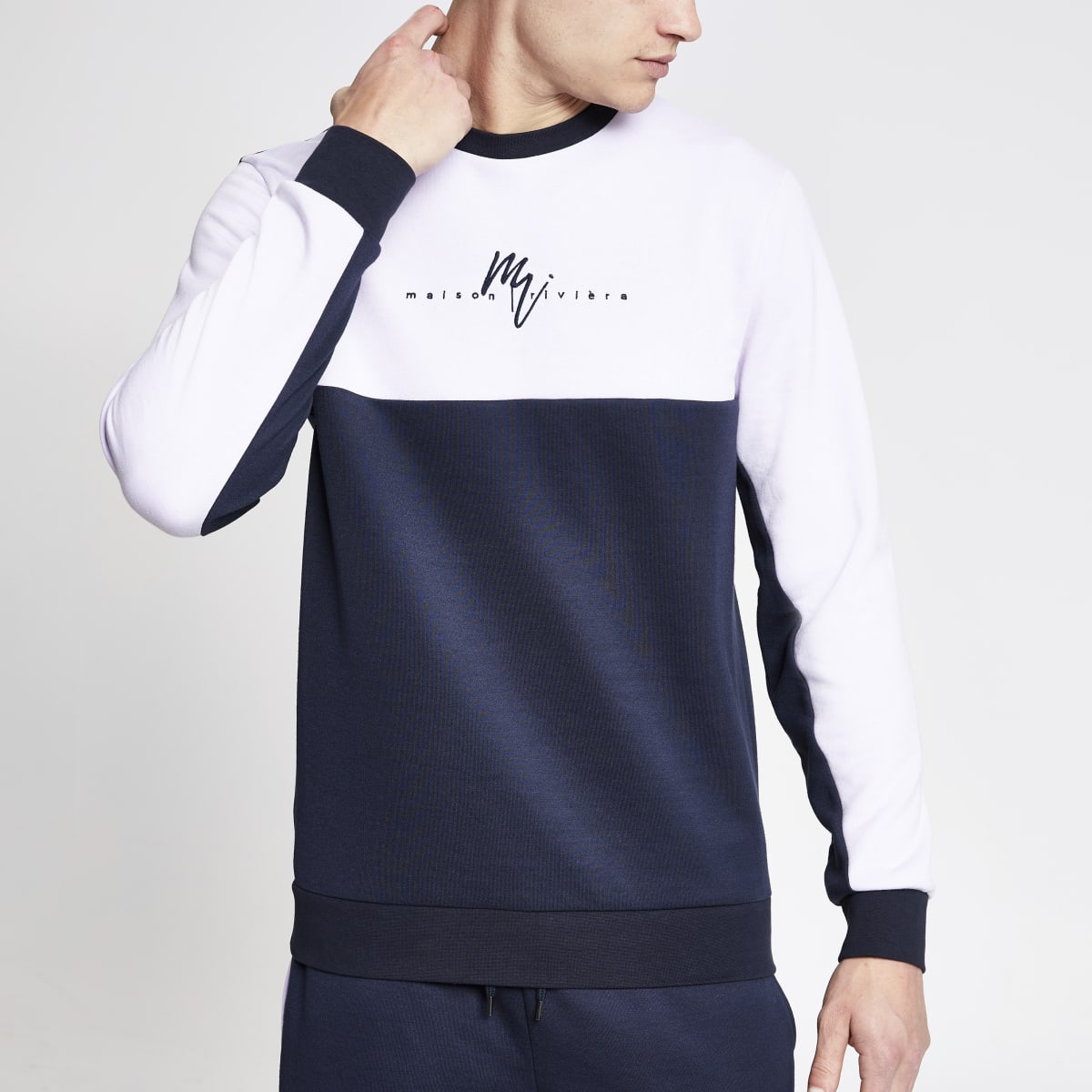 Navy 'Maison Riviera' slim fit sweatshirt